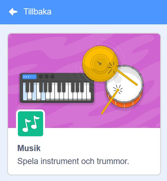Scratch - välj tillägget Musik