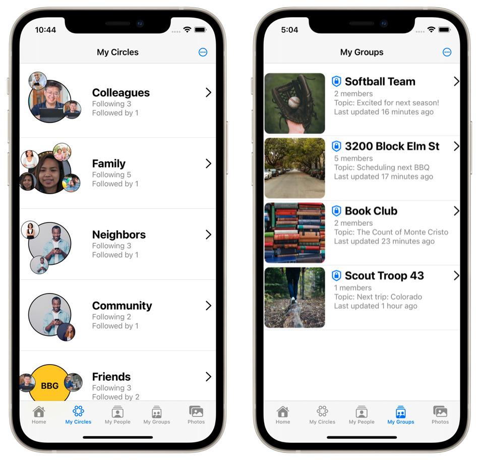 Circles and groups screenshots