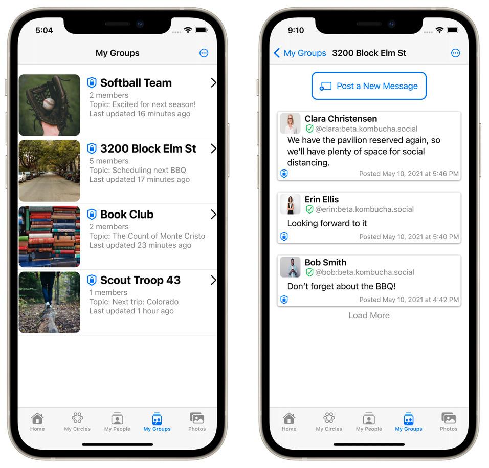 Groups screenshots