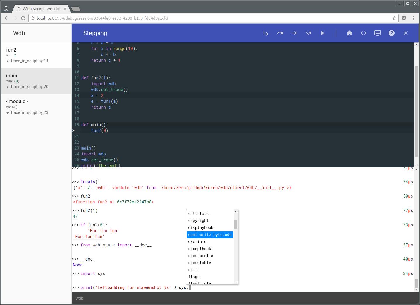 GitHub - Kozea/wdb: An improbable web debugger through
