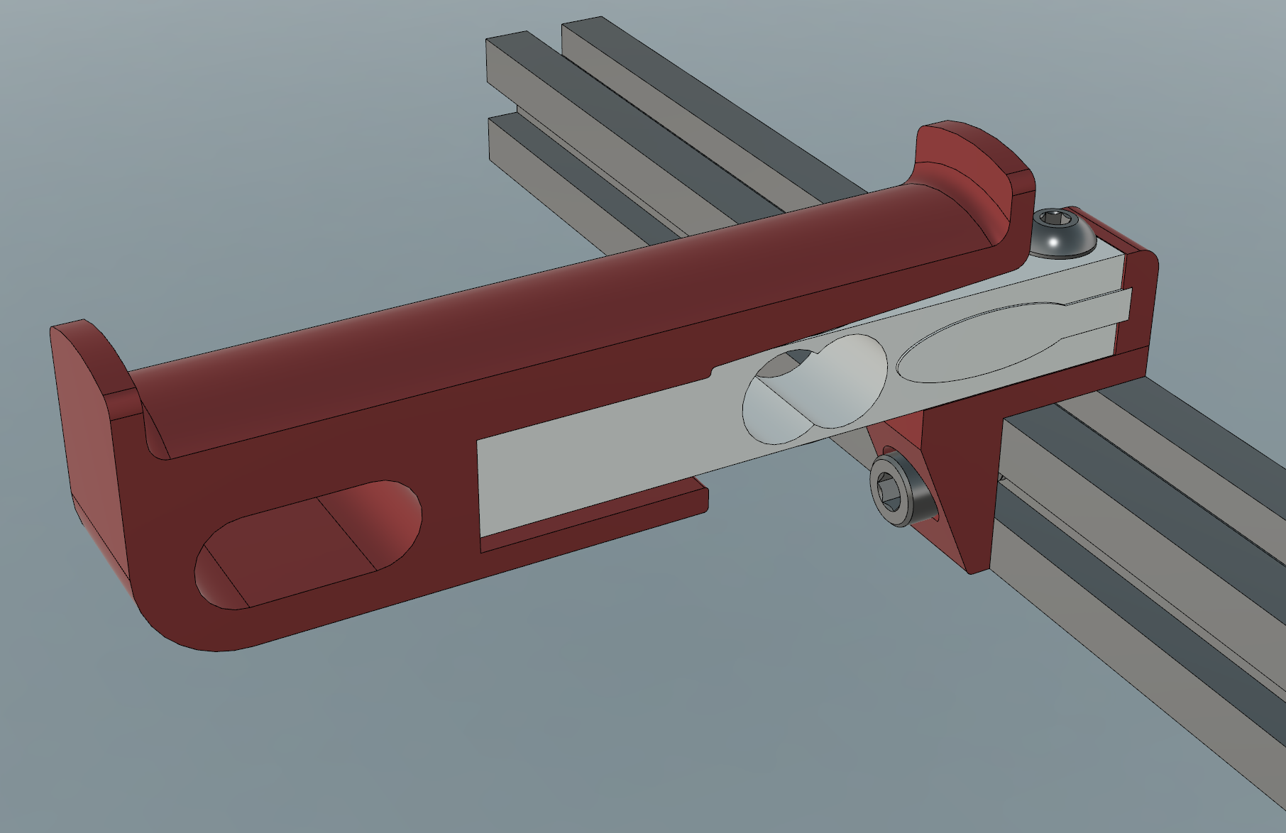 CAD model of the spool holder with integrated load cell