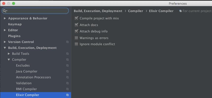 Build, Execution, Deployment > Compiler > Elixir Compiler