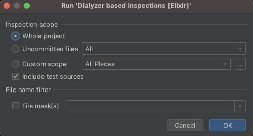 Run 'Dialyzer based inspections (Elixir)'