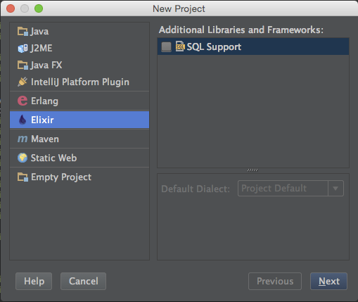 File > New > Project > Elixir