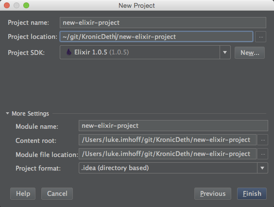 File > New > Project > Settings