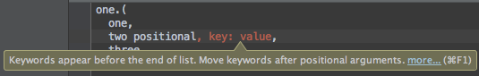 Keywords Not At End inspection
