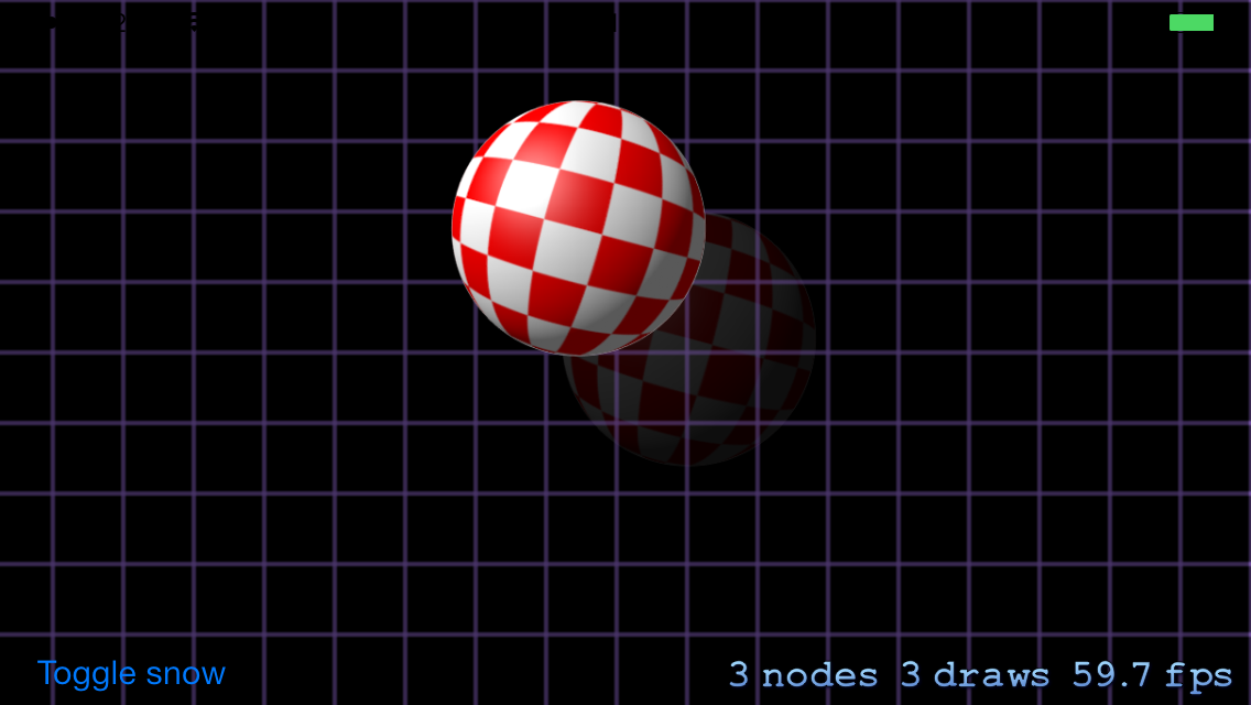 The demo's main scene showing the bouncing ball.