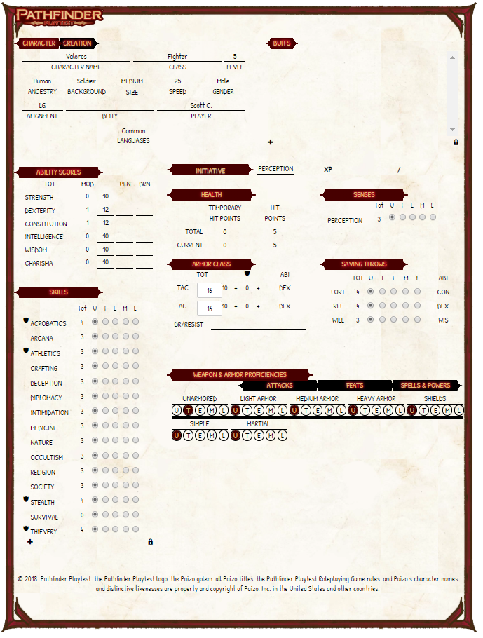 Community Forums: Pathfinder Playtest Character Sheets | Roll20