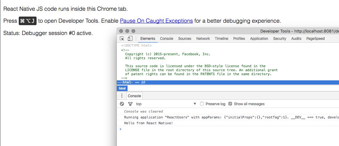 React Native tutorial Google Chrome Debug Console