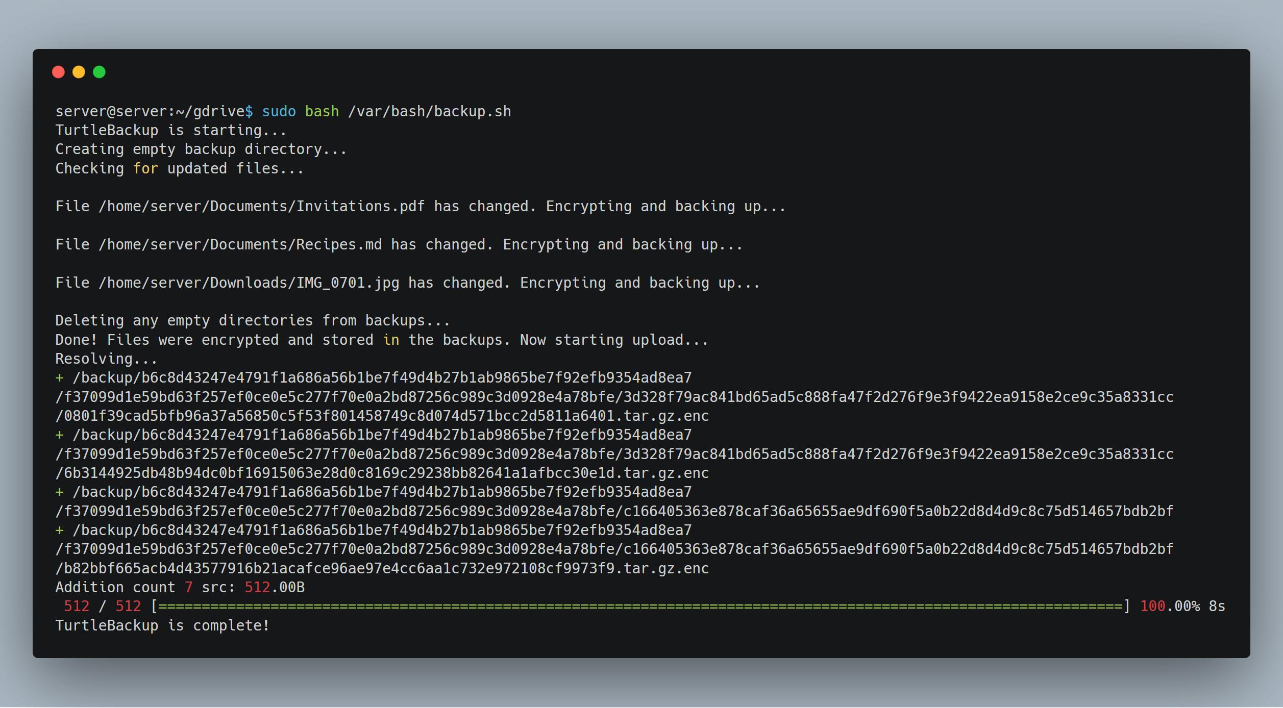 TurtleBackup | Make simple, secure, compressed, and encrypted