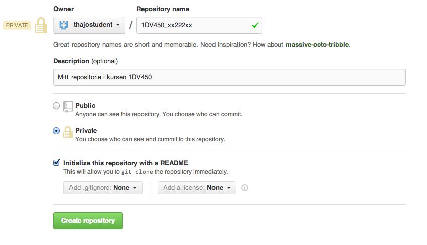 GitHubs - skapa ett nytt repositorie