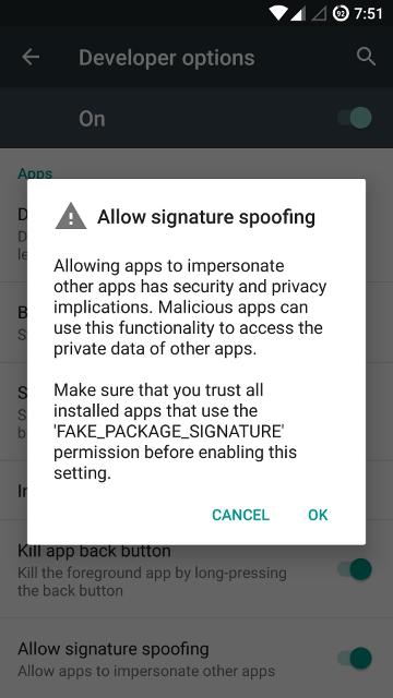 'Allow signature spoofing' dialog