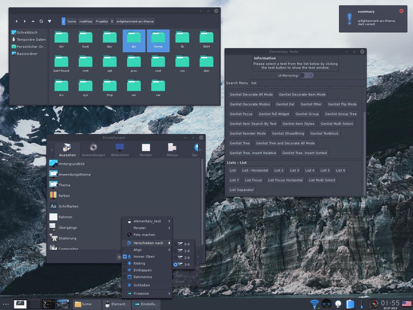 A screenshot of the Arc-Darker theme