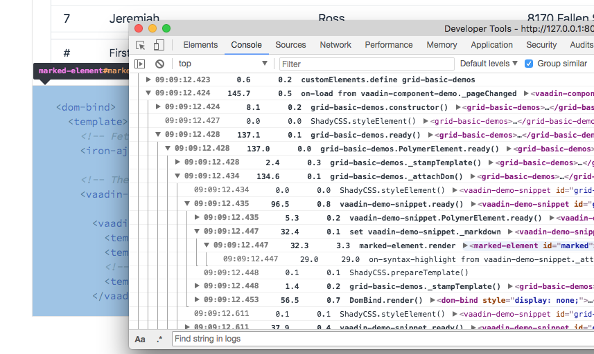 Screenshot of profiler output in the browser's console