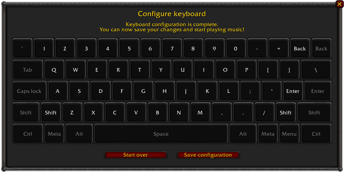 Configuration example for the US keyboard