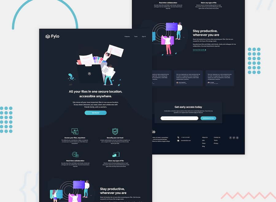 Design preview for the Fylo landing page with dark theme and features grid challenge