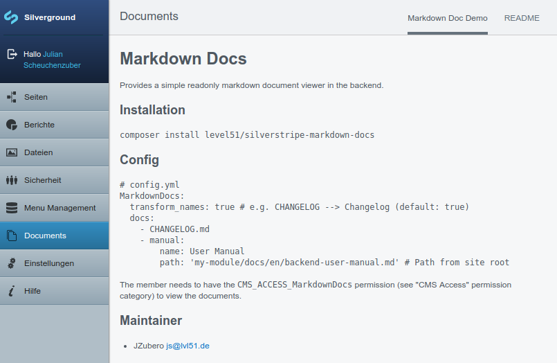 Markdown Docs Demp Screenshot