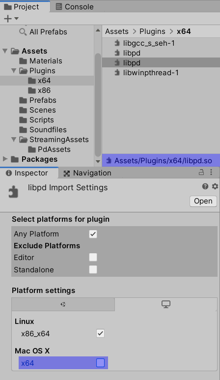 Correct Inspector settings for the 64-bit libpd Linux binary