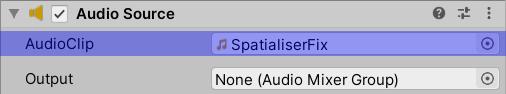 Audio Source AudioClip set to SpatialiserFix.wav