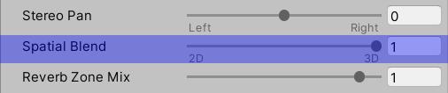 Audio Source Spatial Blend slider set to 3D