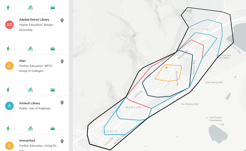 Image of a library isochrone in Wales