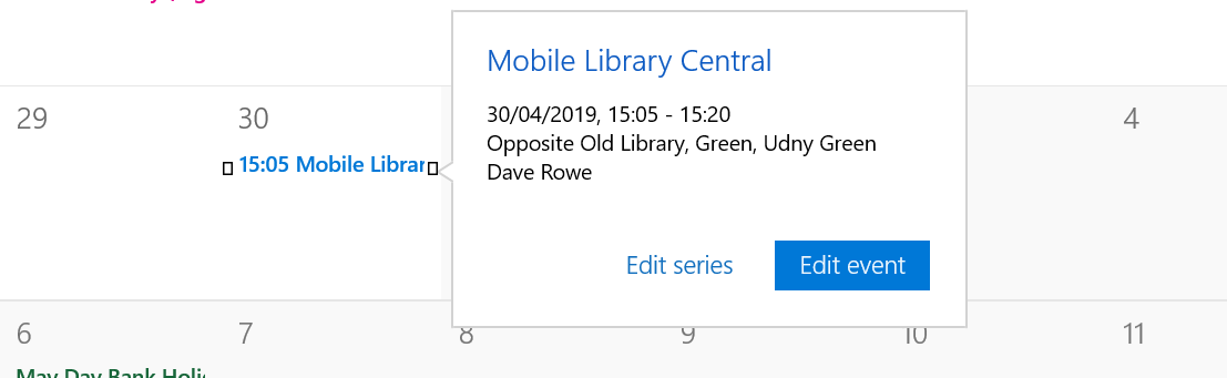 Screenshot of a calendar application showing an entry for a mobile library stop
