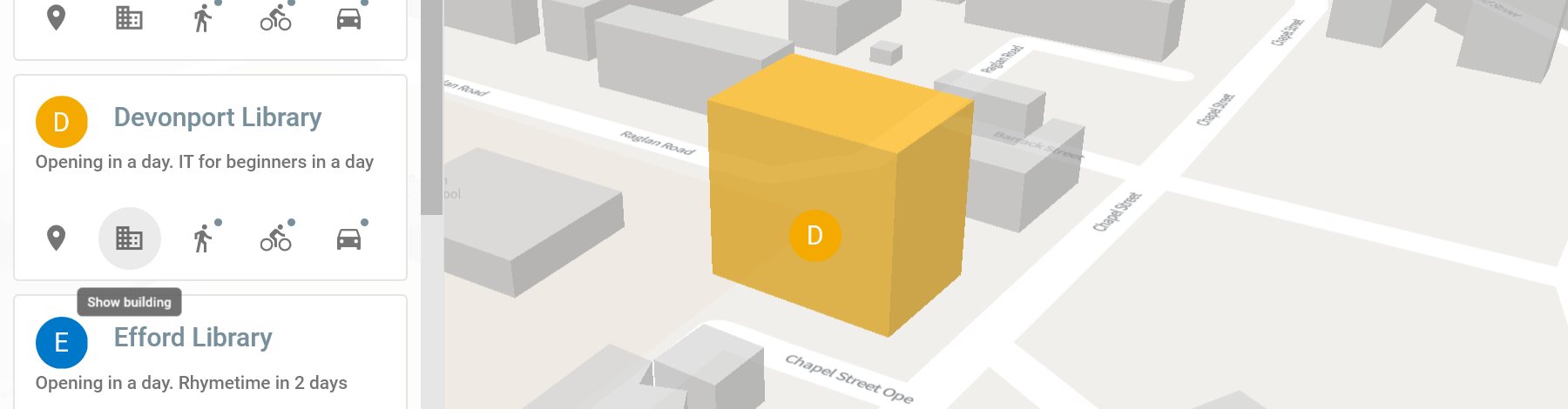 A screenshot of a map, displayed at an angle showing the building in 3D as a cube