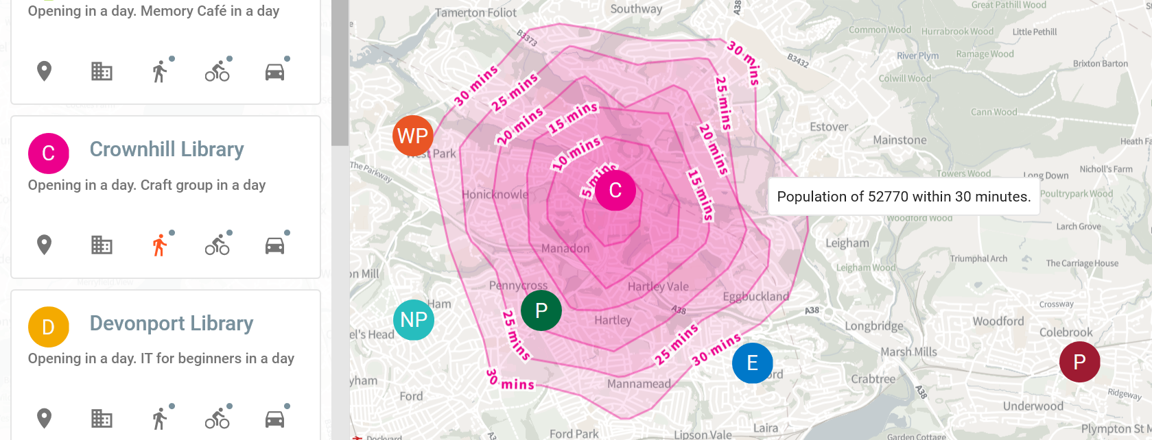 A screenshot of an isochrone around a library, showing walking distances at 5 minute intervals