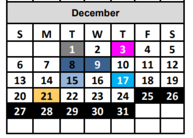 A sample image showing a single calendar month with the date numbers coloured differently to indicate which route the mobile library will be taking.