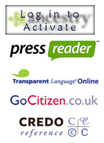 A screenshot showing a list of logos from a library service website, which provides links to various e-resource providers.