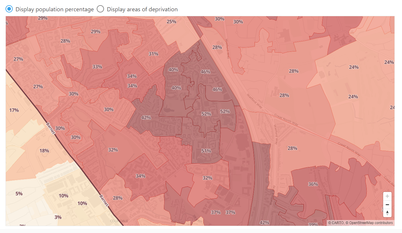 Screenshot of the mapping tool showing an area of Barnet library authority with membership shaded relative to population