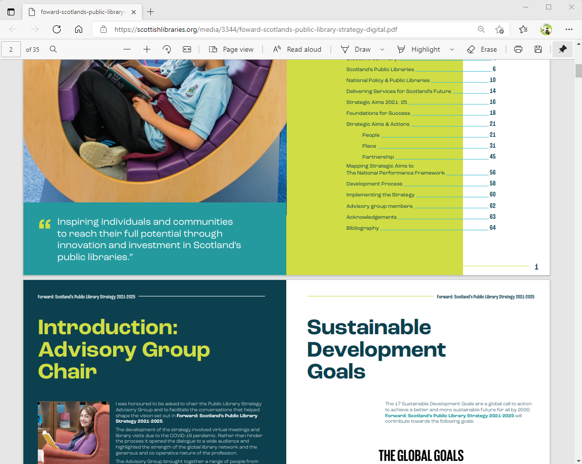 A screenshot of part of Scotland's Public Library Strategy 2021-2025 PDF. It shows a desktop view where there are two pages displayed next to each other and where it is obvious that users would often need to zoom in and out of individual sections to read