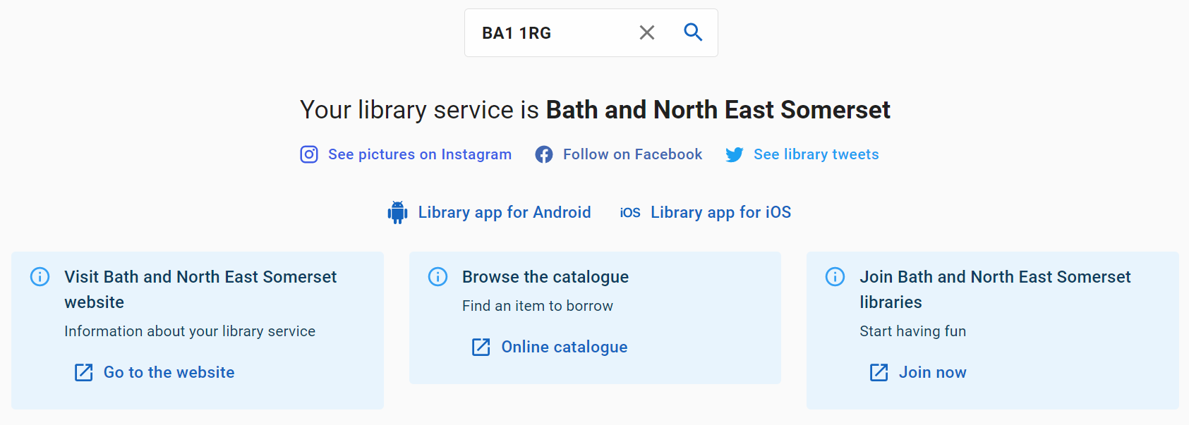 A screenshot of the Find page on the libraries at home site showing an example of searching for a bath and north east somerset postcode and finding details about the library service