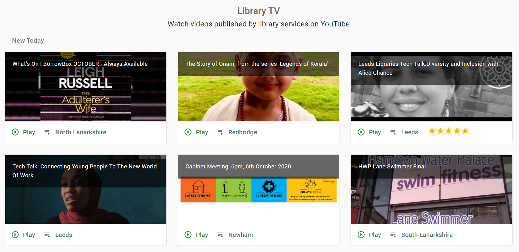 A screenshot of the Library TV page on the libraries at home site showing an example set of videos