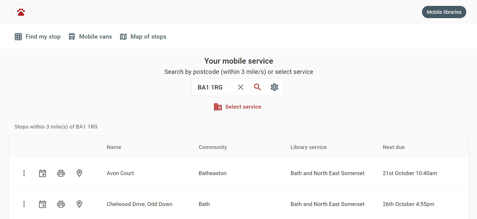 A screenshot of the Stops page on the mobile libraries site showing an example of searching for a postcode in Bath