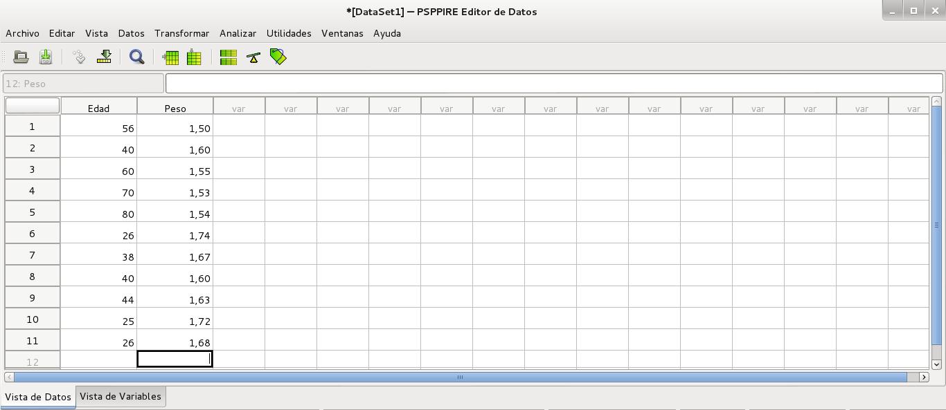 Vista de datos de PSPP