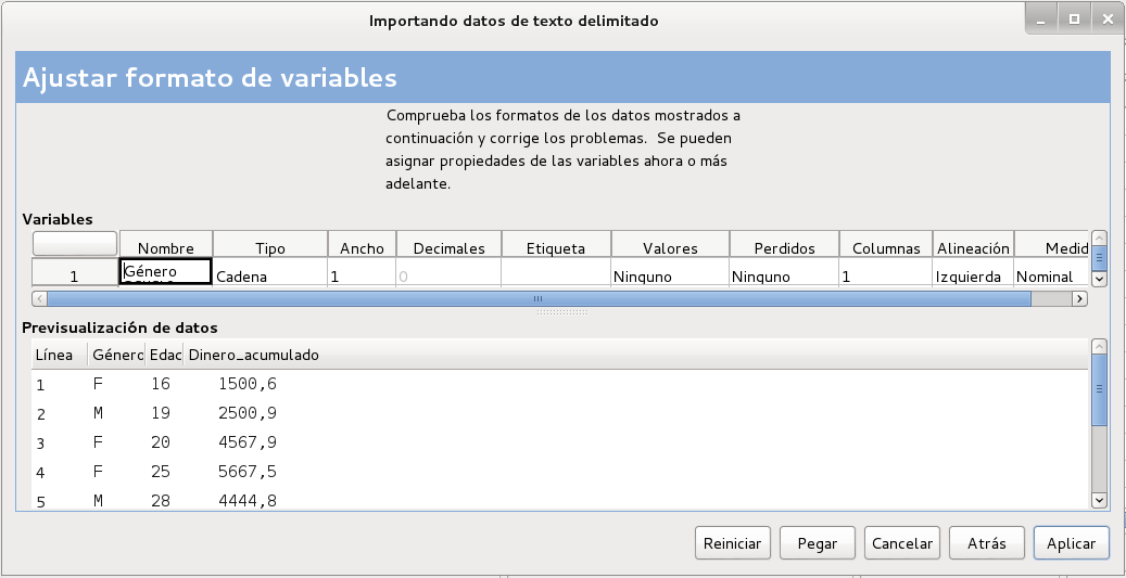 Ajuste de formato de variables