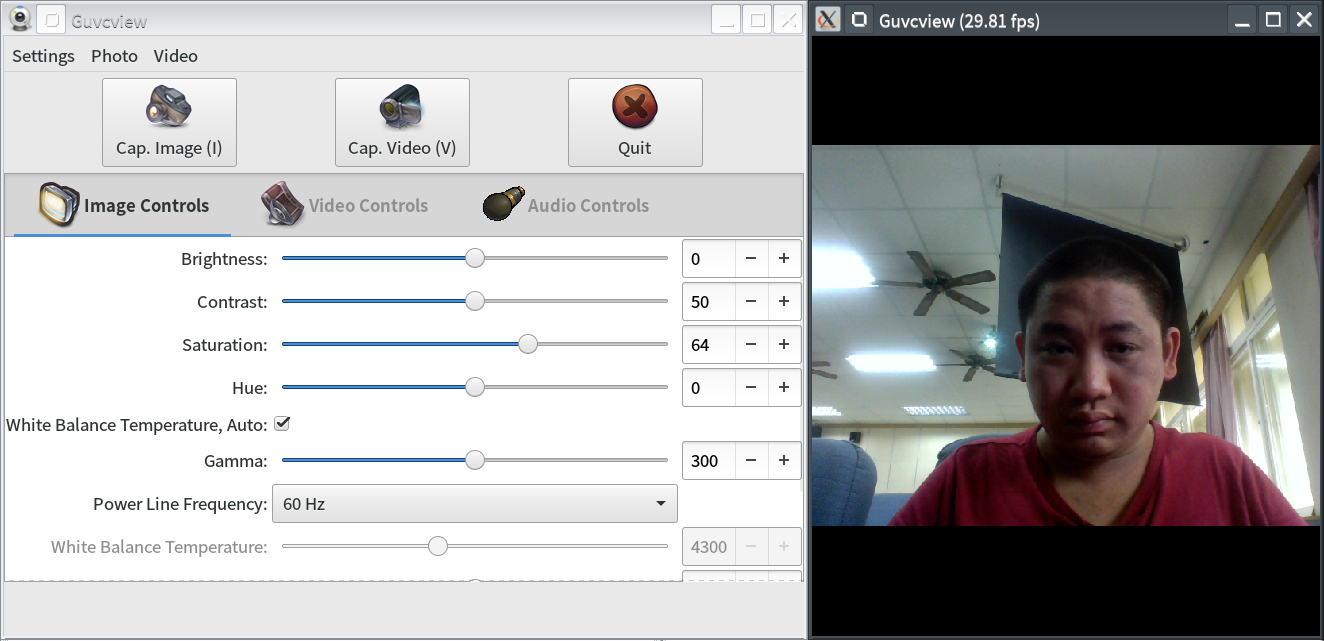 Screenshot of the Snap Version of GTK+ UVC Viewer(Image Control)