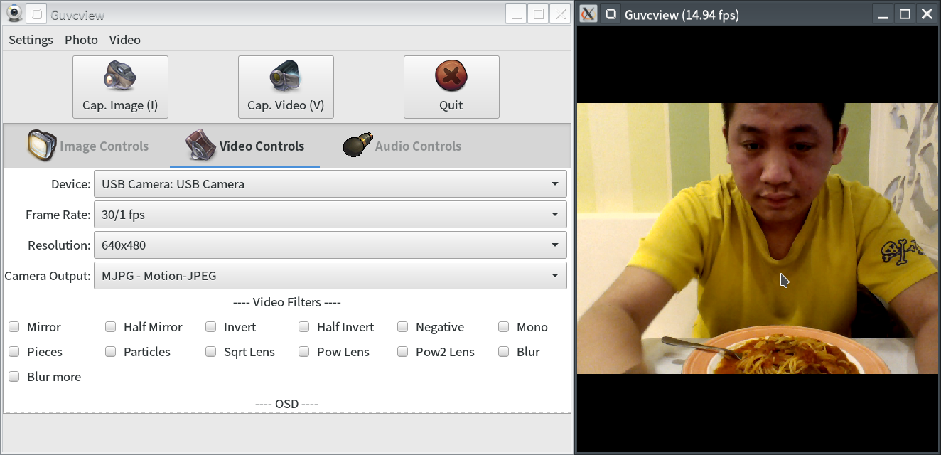 Screenshot of the Snap Version of GTK+ UVC Viewer(Video Control)
