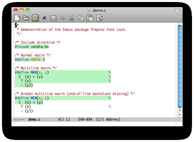 See doc/demo.png for screenshot of Preproc Font Lock