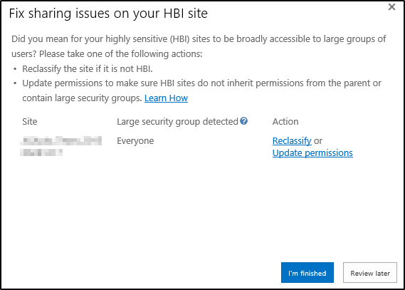 UI for fixing issues on HBI sites
