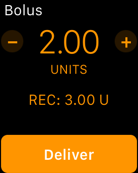 Screenshot of bolus entry on Apple Watch