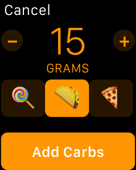 Screenshot of carb entry on Apple Watch