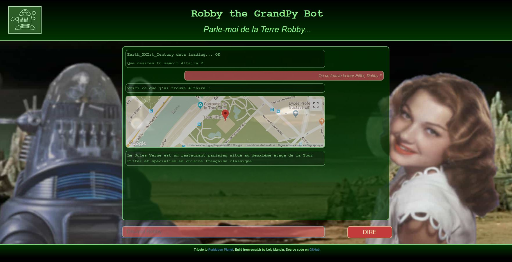A screenshot of grandpybot app