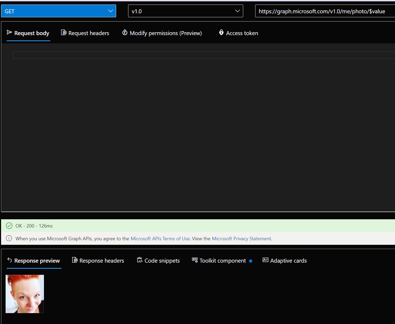 get user profile picture in Graph Explorer