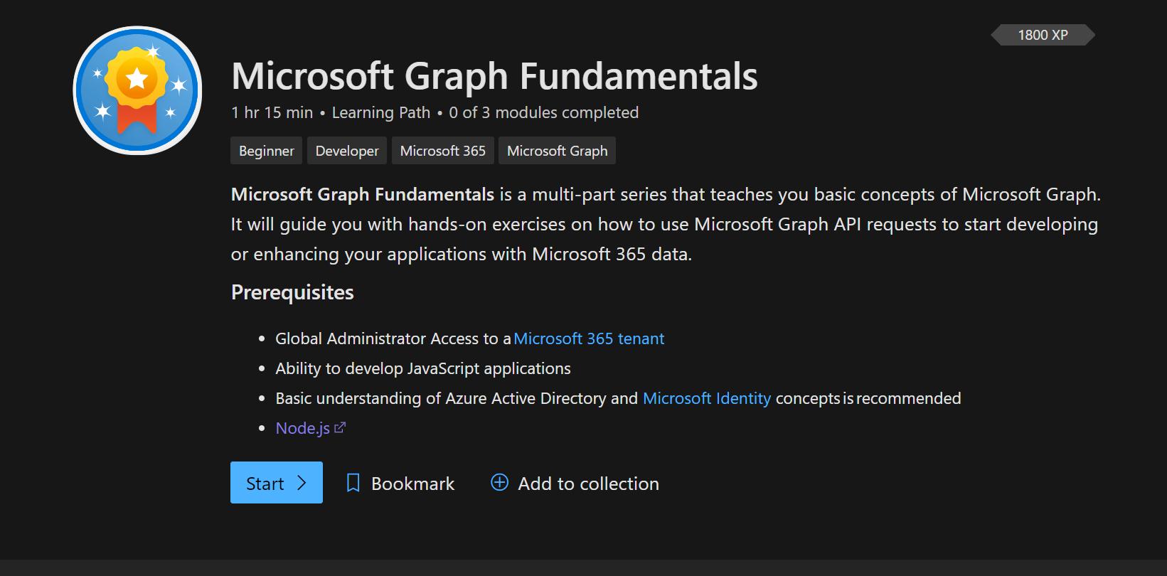 Microsoft Graph Fundamentals LearningPath