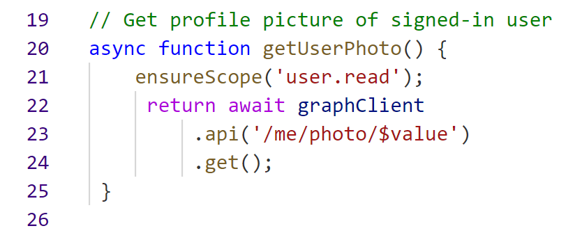 6 lines to get the profile picture from Graph