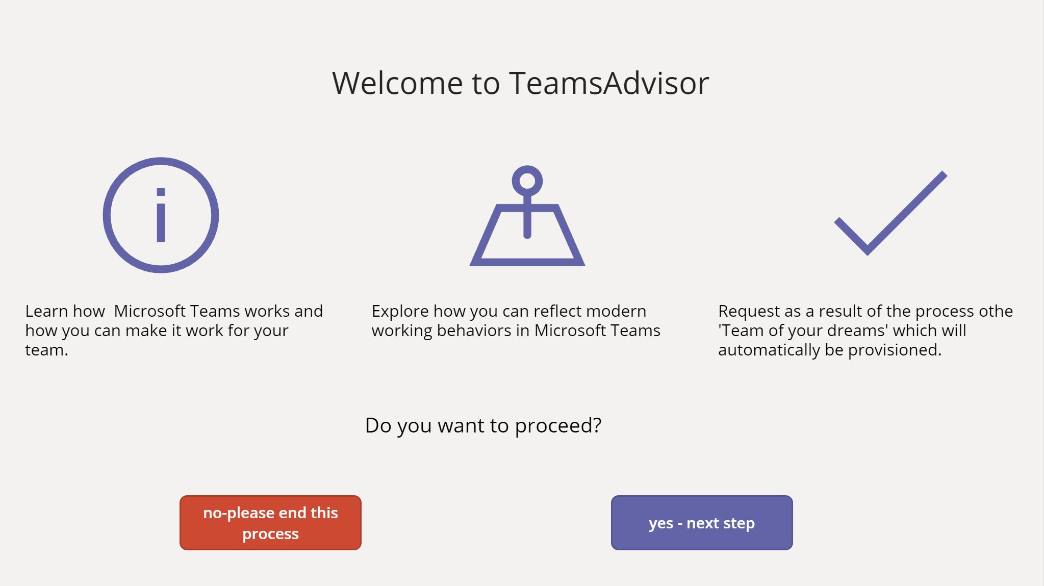 Home screen of Teams Advisor App