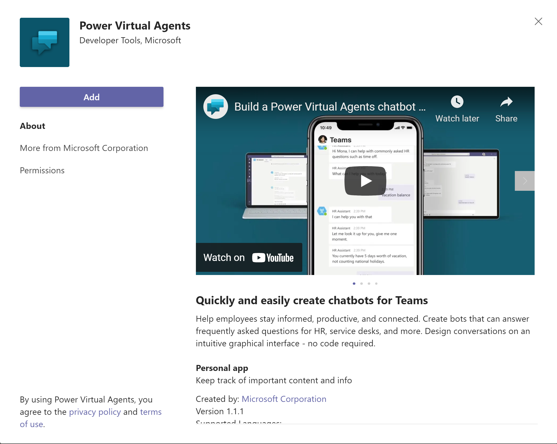 Add Power Virtual Agents to Teams