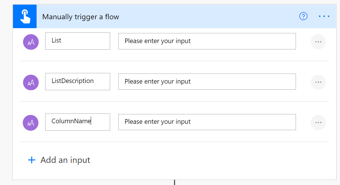 mobile flow trigger with two text inputfields